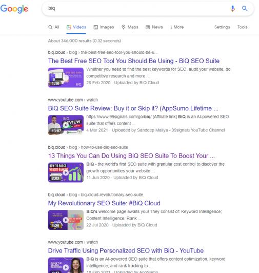 Marketing lessons 5: videos of BiQ on SERP