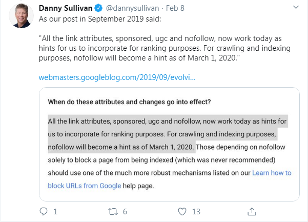 Nofollow becomes a hint for Google's crawling and indexing purposes.