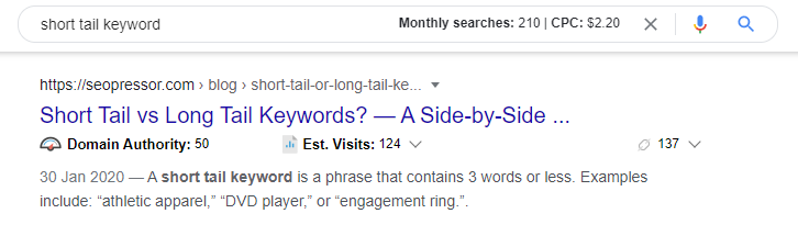 Google search results with the keyword short tail keyword and testing with a website from SEOPressor that is ranking on page one
