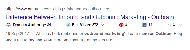 SERP inbound vs outbound marketing title from Outbrain
