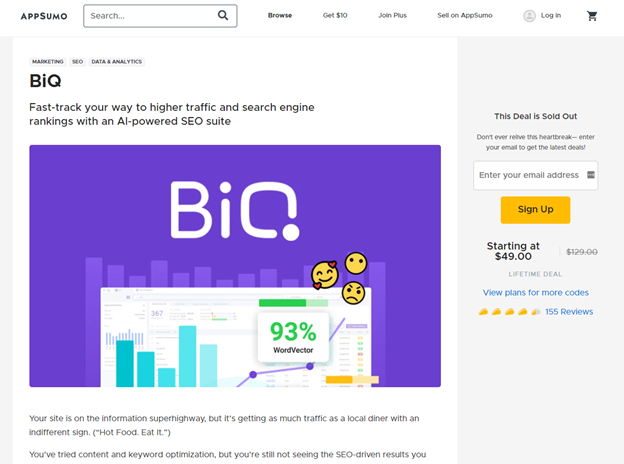 Create a landing page to promote webinar. Example from BiQ x Appsumo collaboration