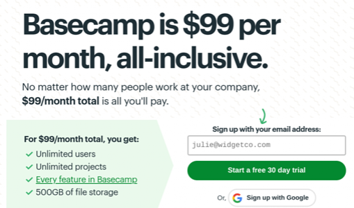 Free trial from basecamp