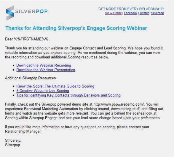 Silverpop thank you message for those attending webinar
